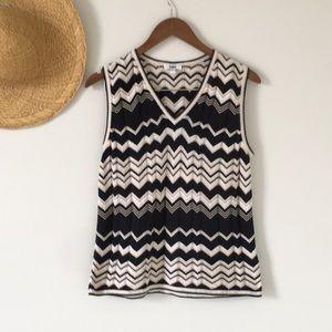 Black and Tan Chevron Sweater Vest Size Medium